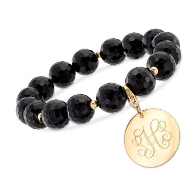 Black Onyx Bead Stretch Bracelet with 14kt Yellow Gold Personalized Disc