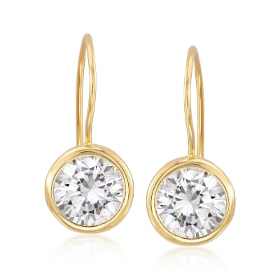 7.00 ct. t.w. Bezel-Set CZ Drop Earrings in 14kt Gold Over Sterling