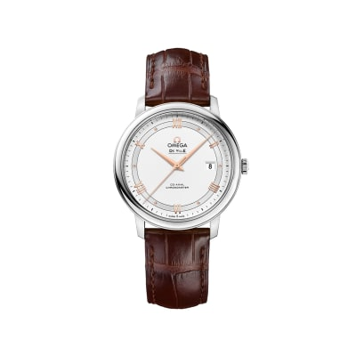 Omega De Ville Prestige Men's 39.5mm Stainless Steel Watch with Brown Leather Strap