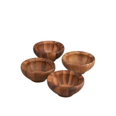 """Nambe """"Yaro"""" 4-pc. Acacia Wood Salad Bowls"""