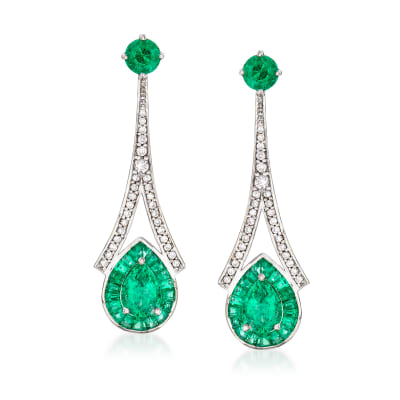 2.60 ct. t.w. Emerald and .36 ct. t.w. Diamond Drop Earrings in 14kt White Gold