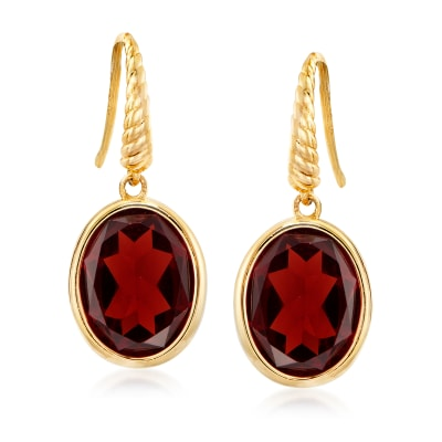 5.75 ct. t.w. Garnet Drop Earrings in 14kt Yellow Gold