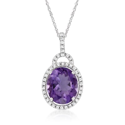 4.10 Carat Amethyst and .20 ct. t.w. Diamond Pendant Necklace in 14kt White Gold