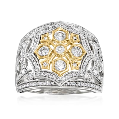 1.00 ct. t.w. Diamond Openwork Dome Ring in Sterling Silver with 14kt Yellow Gold
