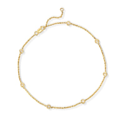 .20 ct. t.w. Bezel-Set Diamond Anklet in 14kt Yellow Gold