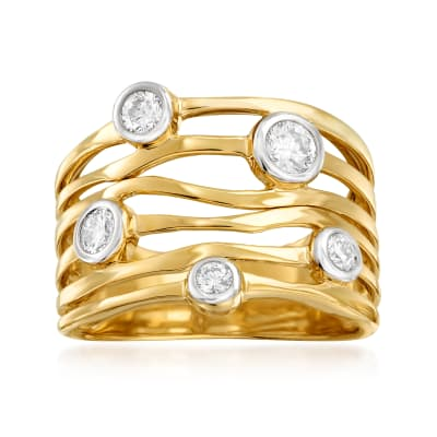 .50 ct. t.w. Bezel-Set Diamond Highway Ring in 14kt Yellow Gold