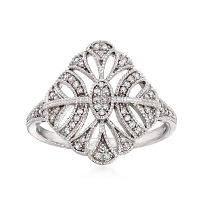 .17 ct. t.w. Diamond Openwork Ring in 14kt White Gold