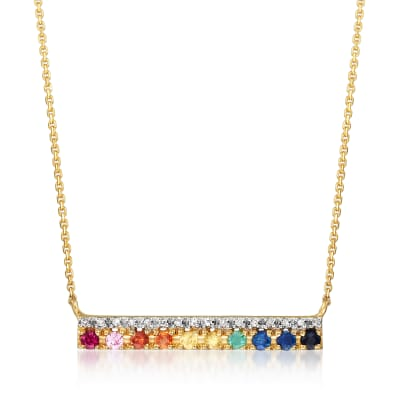 Diamond-Accented .37 ct. t.w. Multicolored Multi-Gem Bar Necklace in 14kt Yellow Gold