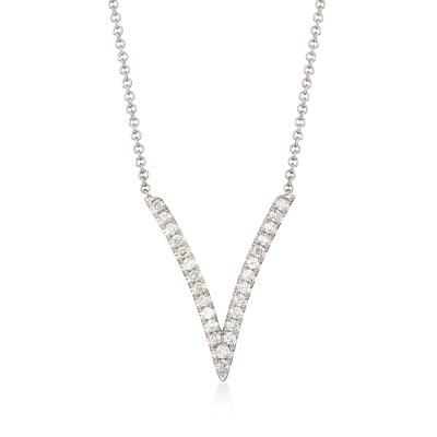 Gabriel Designs .29 ct. t.w. Diamond Deep V-Necklace in 14kt White Gold