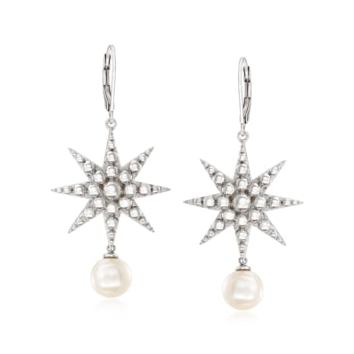8-8.5mm Cultured Pearl Starburst Drop Earrings in Sterling Silver