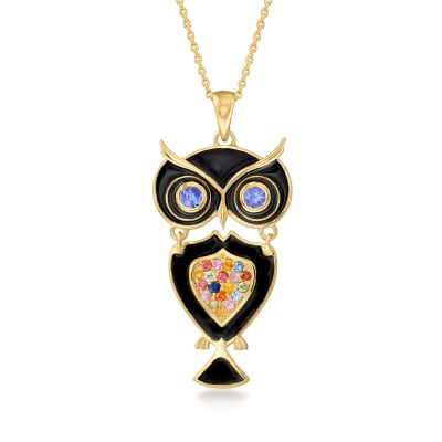 .30 ct. t.w. Multicolored Sapphire and .30 ct. t.w. Blue Tanzanite Owl Pendant Necklace with Black Enamel in 18kt Gold Over Sterling