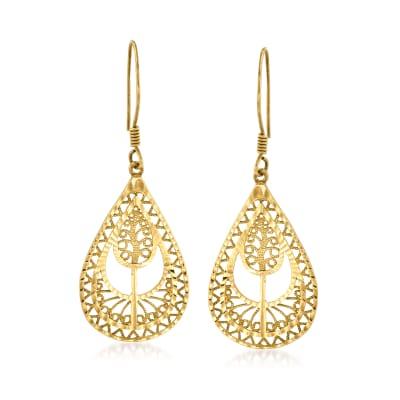 18kt Gold Over Sterling Openwork Filigree Teardrop Earrings