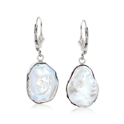 15-17mm Cultured Baroque Keshi Pearl Drop Earrings in Sterling Silver
