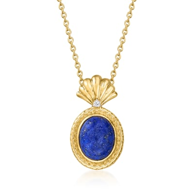 Lapis Pendant Necklace with Diamond Accents in 18kt Gold Over Sterling