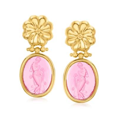Italian Tagliamonte Pink Venetian Glass Intaglio Drop Earrings in 18kt Gold Over Sterling
