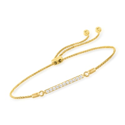 .25 ct. t.w. Diamond Bar Bolo Bracelet in 14kt Yellow Gold