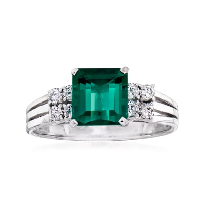 C. 1990 Vintage 2.00 Carat Green Tourmaline and .40 ct. t.w. Diamond Ring in 14kt White Gold