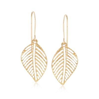 Italian 14kt Yellow Gold Openwork Leaf Drop Earrings