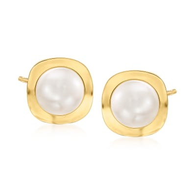 8-8.5mm Cultured Pearl Earrings in 14kt Yellow Gold