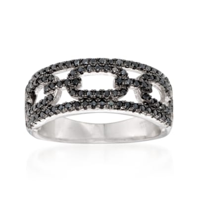 .50 ct. t.w. Black Spinel Link Ring in Sterling Silver
