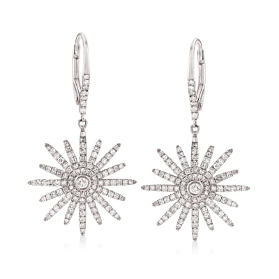 .75 ct. t.w. Diamond Starburst Drop Earrings in 18kt White Gold