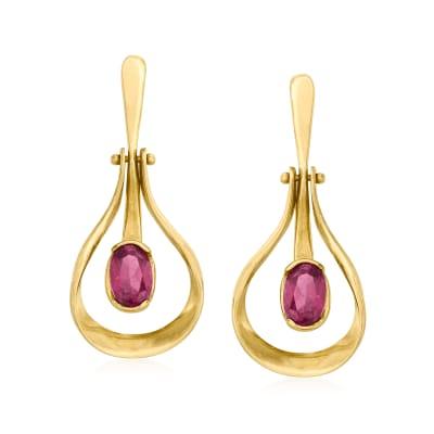 C. 1990 Vintage 1.30 ct. t.w. Rhodolite Garnet Drop Earrings in 14kt Yellow Gold