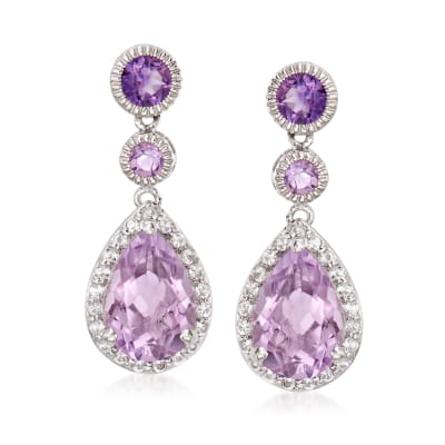 5.80 ct. t.w. Amethyst and .70 ct. t.w. White Topaz Drop Earrings in Sterling Silver