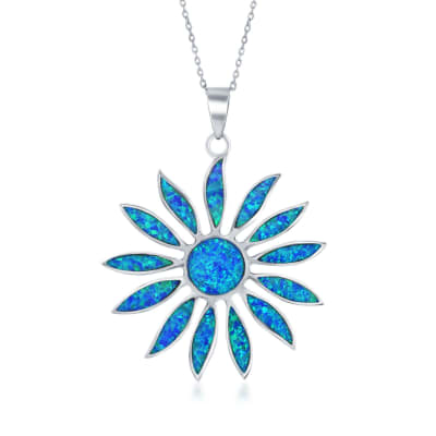Blue Synthetic Opal Daisy Flower Pendant Necklace in Sterling Silver
