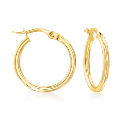 Italian 2mm 18kt Yellow Gold Hoop Earrings