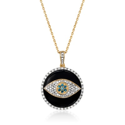 .50 ct. t.w. Blue and White Diamond and Black Enamel Evil Eye Pendant Necklace in 18kt Gold Over Sterling
