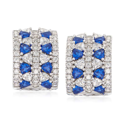 1.90 ct. t.w. CZ and .80 ct. t.w. Simulated Sapphire Curved Earrings in Sterling Silver