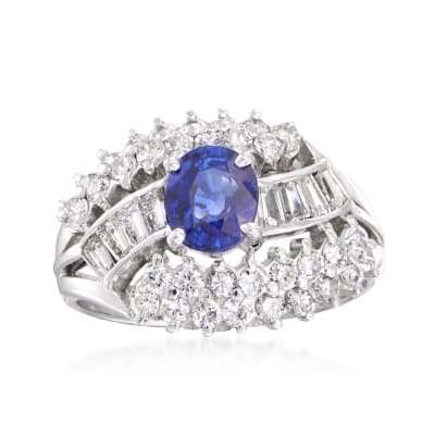 C. 1980 Vintage 1.12 Carat Sapphire and 1.05 ct. t.w. Diamond Ring in Platinum