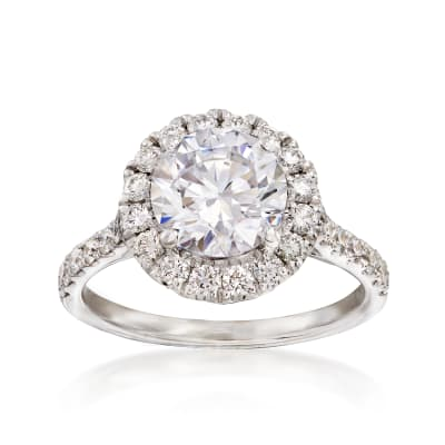 .68 ct. t.w. Diamond Halo Engagement Ring Setting in 14kt White Gold