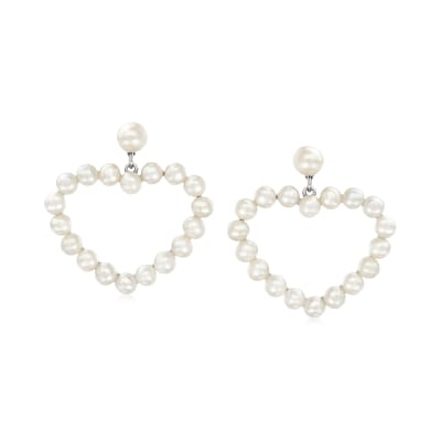 3.5-5.5mm Cultured Pearl Heart Drop Earrings with Sterling Silver