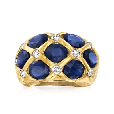 C. 1980 Vintage 5.25 ct. t.w. Sapphire and .40 ct. t.w. Diamond Ring in 14kt Yellow Gold