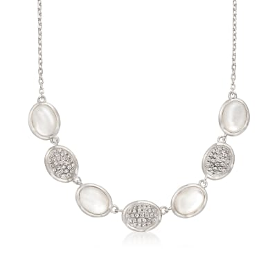 Mother-Of-Pearl and .60 ct. t.w. Pave CZ Oval Necklace in Sterling Silver