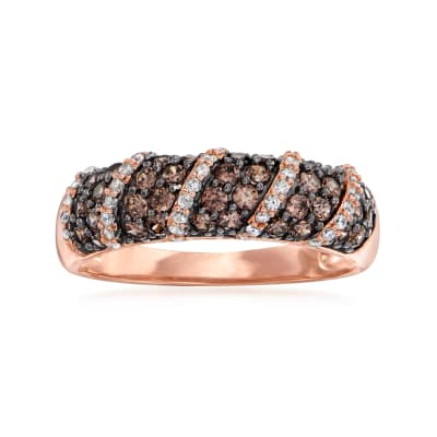 .72 ct. t.w. Brown and White CZ Swirl Ring in 18kt Rose Gold Over Sterling