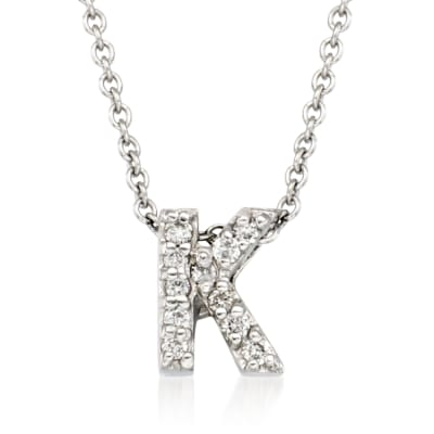 "Roberto Coin ""Love Letter"" Diamond Accent Initial ""K"" Necklace in 18kt White Gold"
