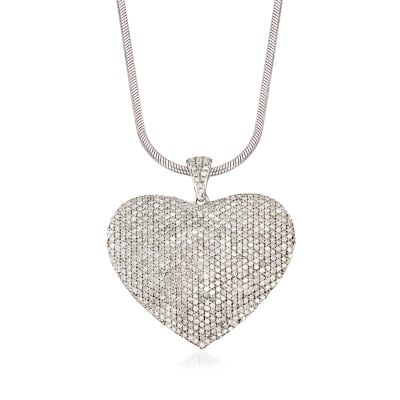 5.00 ct. t.w. Pave Diamond Heart Pendant Necklace in Sterling Silver