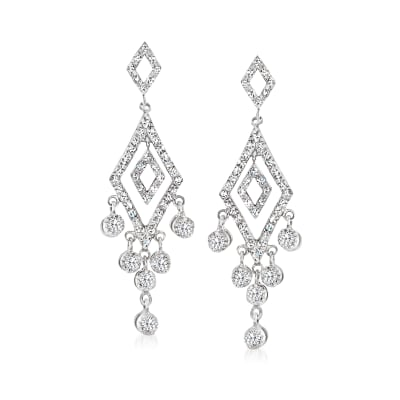 C. 1990 Vintage 1.20 ct. t.w. Diamond Chandelier Earrings in 14kt White Gold