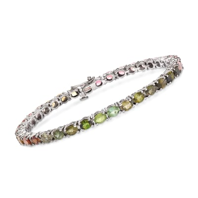 9.60 ct. t.w. Multicolored Tourmaline Tennis Bracelet in Sterling Silver