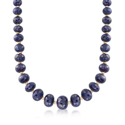 7-13mm Sapphire Bead Necklace with 14kt Yellow Gold