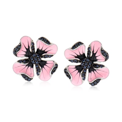 .40 ct. t.w. Black Spinel and Multicolored Enamel Flower Earrings in Sterling Silver