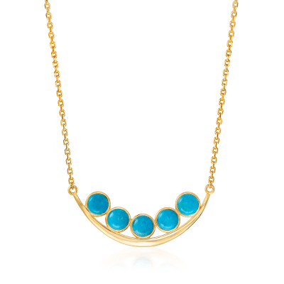 Turquoise Curved Bar Necklace in 18kt Yellow Gold Over Sterling Silver