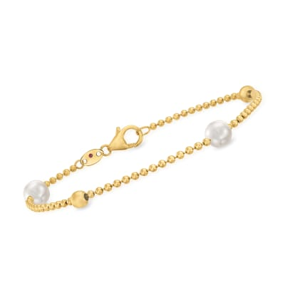 Roberto Coin 6mm Cultured Pearl Station Bracelet in 18kt Yellow Gold