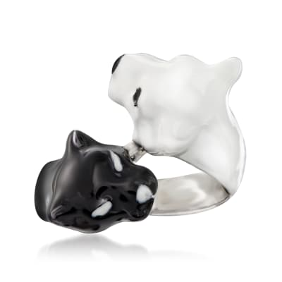 Black and White Enamel Panther Bypass Ring in Sterling Silver