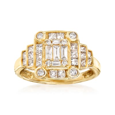 1.00 ct. t.w. Diamond Cluster Ring in 14kt Yellow Gold