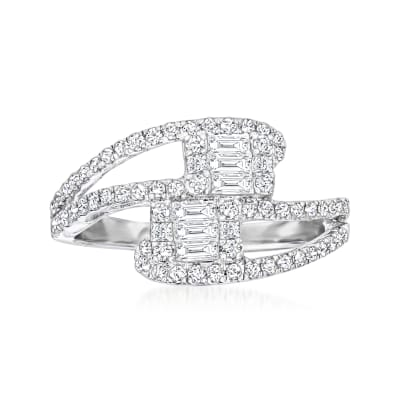 .70 ct. t.w. Diamond Cluster Bypass Ring in 18kt White Gold