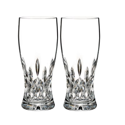 "Waterford Crystal ""Connoisseur"" Set of 2 Lismore Beer Glasses"