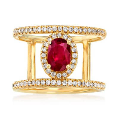 .90 Carat Ruby and .34 ct. t.w. Diamond Ring in 18kt Yellow Gold